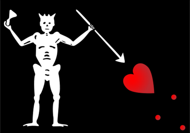 "The flag of Blackbeard's infamous ship, ""The Queen Anne's Revenge""."