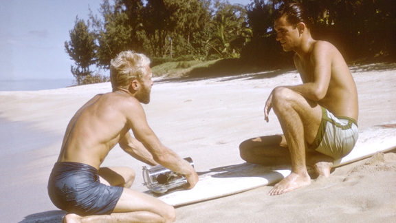 'The Endless Summer' director Bruce Brown with surfer Robert August.
