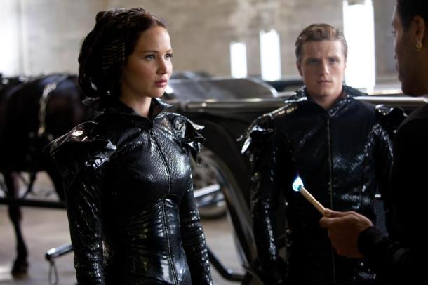 Jennifer Lawrence, Josh Hutcherson, and Lenny Kravitz in 'The Hunger Games'