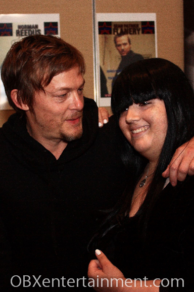 Actor NORMAN REEDUS of The Walking Dead greeted fan Raven Storm with a hug at Blood on the Beach.