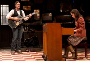 Steve Kazee and Cristin Milioti perform in a scene from 'Once'.