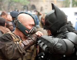 Tom Hardy and Christian Bale star in 'The Dark Knight Rises'.
