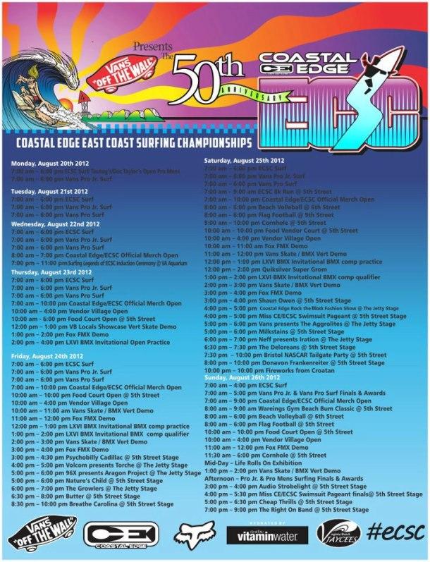 50th ECSC - schedule