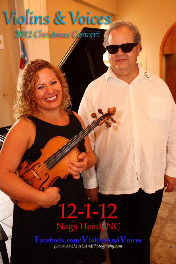 Sue Artz and Angelo Sonnesso will be live in concert at the 2012 Violins & Voices Christmas Concert, Dec. 1 in Nags Head. (photo: Artz Music & Photography)