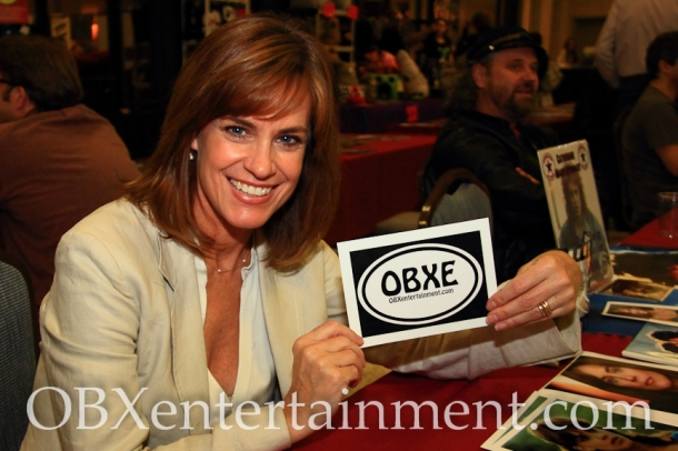 Catherine Mary Stewart ('The Last Starfighter', 'Weekend at Bernie's') shows off her new OBXentertainment.com decal!