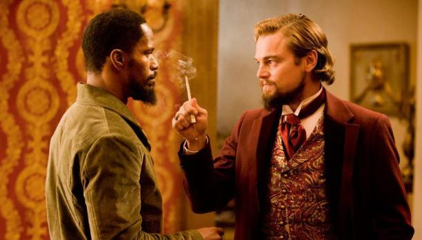 Jamie Foxx is face to face with Leonardo DiCaprio in 'Django Unchained'.