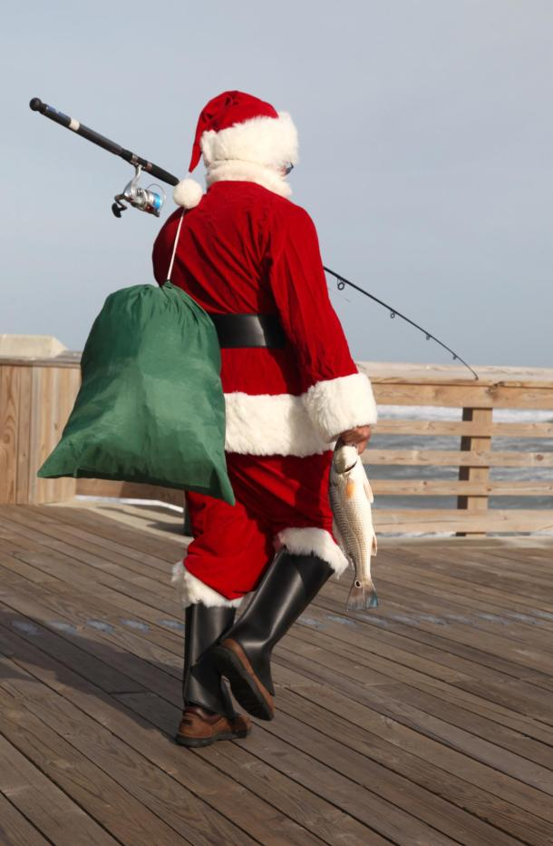 Santa goes fishing at Jennette's Pier in Nags Head on Dec. 15. (photo: Jim Gould)