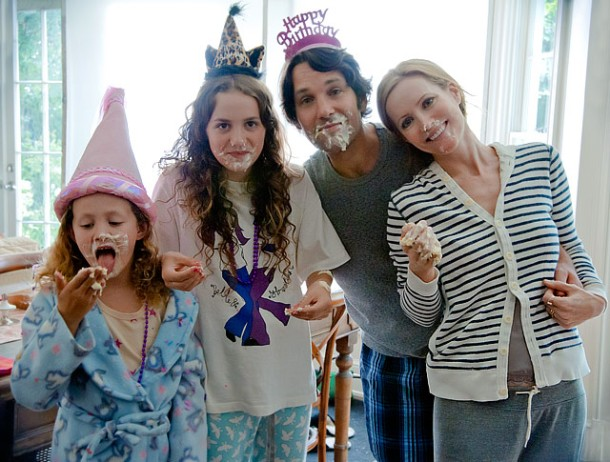 Iris and Maude Apatow, Paul Rudd, and Leslie Mann star in 'This is 40'.