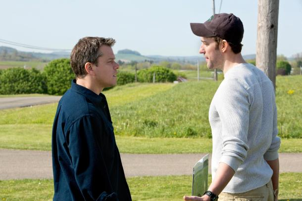 Matt Damon and John Krasinski are face to face in 'Promised Land'.
