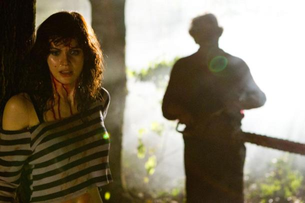 Leatherface stalks Alexandra Daddario in 'Texas Chainsaw 3D'.
