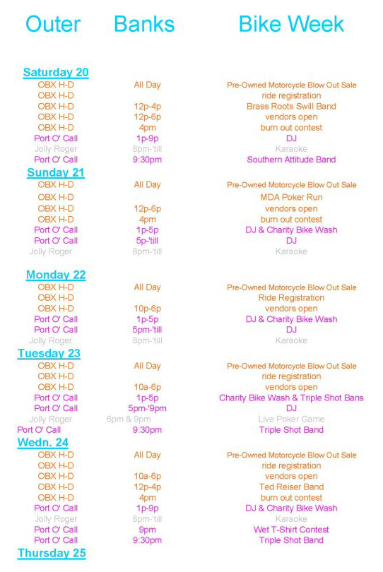 Outer Banks Bike Week Schedule of Events page 1