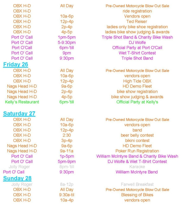 Outer Banks Bike Week Schedule of Events page 2