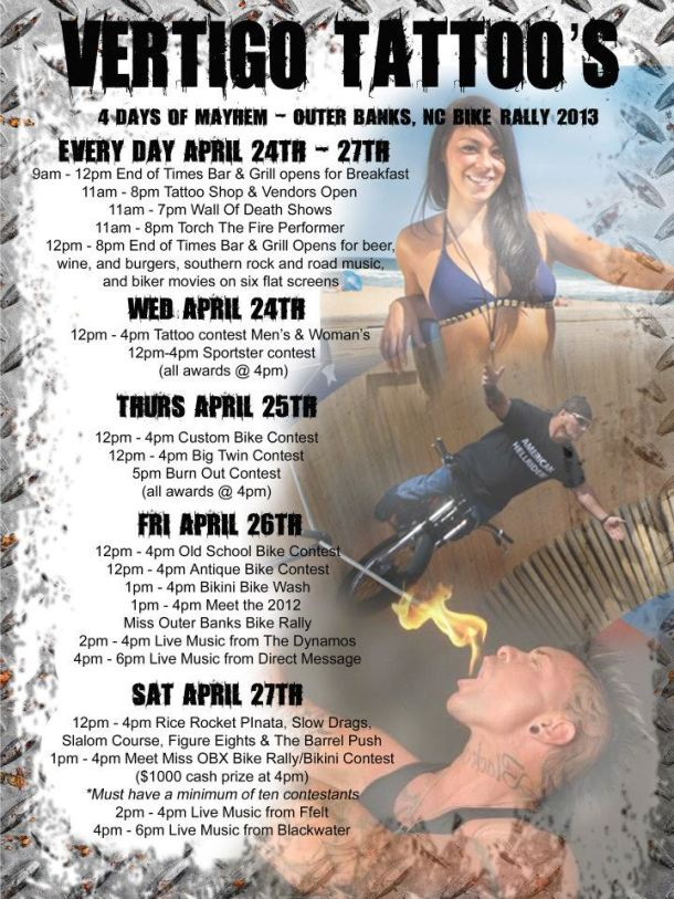 Outer Banks Bike Rally 2013 Schedule of Events