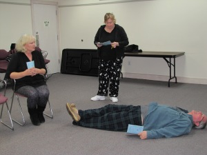 Actors Becky Shinn, Julie Sawyer, and Glenn Sawyer are busy rehearsing the comedy 'Will Someone Please Tell Me What's Going On Here?', by Jim Lee. (photo by Theatre of Dare)