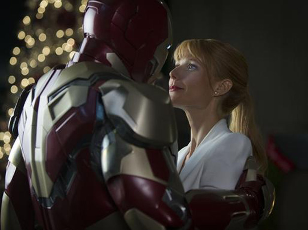 Iron Man romances Gwyneth Paltrow in Marvel's 'Iron Man 3'.