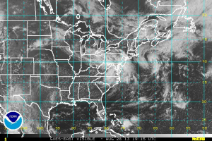 Outer Banks Pro 2013 Surf Forecast - Visible satellite imagery of the eastern US and western Atlantic.