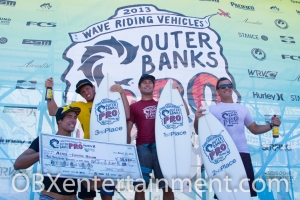 Outer Banks Pro 2013 Winner Asher Nolan (in red) with contest finalists Eric Geiselman, Jeremy Johnston, and Gabe Kling. (photo: OBXentertainment.com)