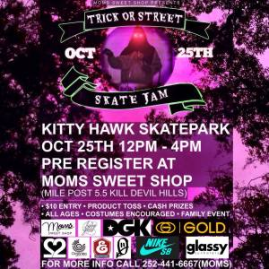 Trick or Street Skate Jam - Oct. 25 at Kitty Hawk Skatepark