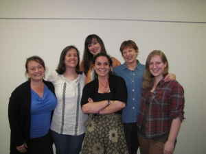 The cast of Theatre of Dare's 'The Dixie Swim Club' is Jessica Sands, Mary Egbert, Betsy Head, Janet Bryant, and Chelsea Smith, with director Stephanie Sexton (center).