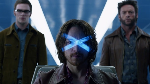 Nicholas Hoult, James McAvoy, and Hugh Jackman team up in 'X-Men Days of Future Past'.