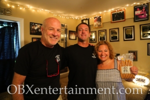 Capt'n Franks owners Harvey Hess Jr. and Harvey Hess III with Sue Artz on the set of the OBX Entertainment web series 'OBXE TV' on June 27, 2014. (photo by OBXentertainment.com)