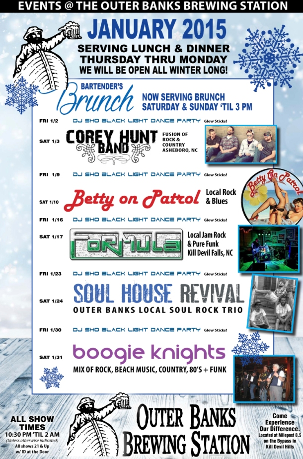 Outer Banks Brewing Station January 2015 live lineup