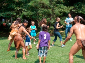 Members of 'The Lost Colony' cast play with visitors at the 2012 Dare Faire.