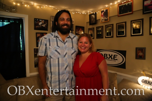Grill Room owner and Mustang Music Festival founder Mike Dianna with Sue Artz on the set of the OBX Entertainment series 'OBXE TV' on August 22, 2014. (photo by OBXentertainment.com)