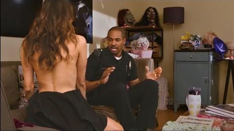 Nina Dobrev bares herself to Damon Wayans Jr. in 'Lets Be Cops'.
