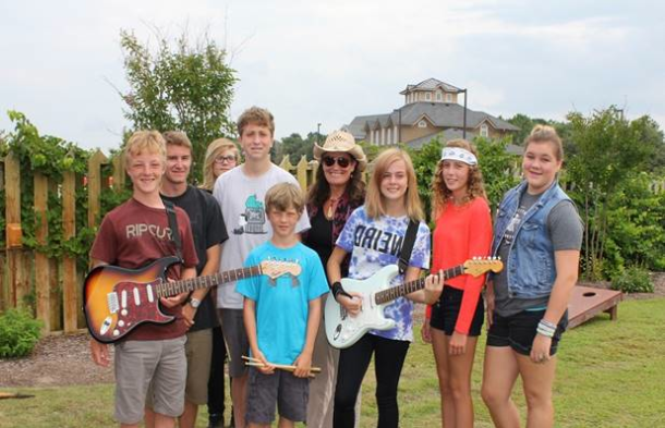 From left-right, 1st row: Sam Willis, Jonah Wills, Elise Seawell, Ramea Blake, Grace Deichler, Cullen Smith, Noah Howard, Ruth Wyand. Missing from photo: bass player and songwriter Jacob Mandis.