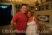 Outer Banks Mystery Dinner owner and director Matt Marberry with Sue Artz on the set of the OBX Entertainment web series 'OBXE TV' on August 11, 2014. (photo by OBXentertainment.com)