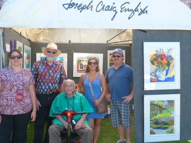 Edward Greene, New World Festival of the Arts co-founder; with (back row, left to right) Lousie Sanderlin, show organizer COA; Joseph Craig English, Best in Show Two-Dimensional award winner; Erin Johnson, show organizer COA; Chris Sawin, Dare County Arts Council.