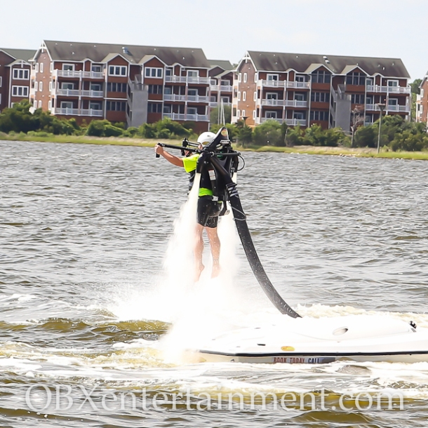 Sue Artz takes flight with OBXjetpak on Episode 22 of the OBX Entertainment original series 'OBXE TV', on July 29, 2014. (photo by OBXentertainment.com)