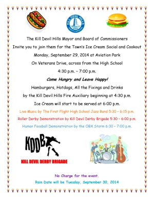 Kill Devil Hills 2014 Ice Cream Social - Monday, September 29 at Aviation Park