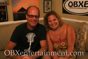 Sue Artz with The Pit owner Ben Sproul on the set of the OBX Entertainment original series 'OBXE TV' on September 18, 2014. (photo by Matt Artz - OBXentertainment.com)