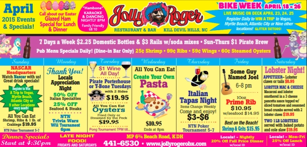 April 2015 Jolly Roger Outer Banks Schedule of Events