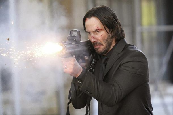 Keanue Reeves takes aim as 'John Wick'.
