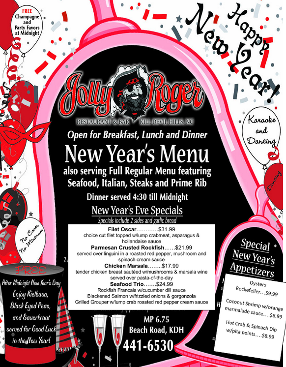 Jolly Roger New Year's Eve 2015 Menu
