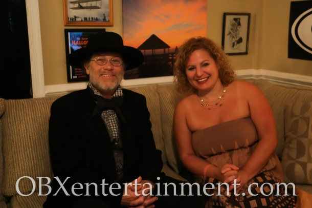 Sue Artz with Island Farm site manager Gene Stapleton on the set of the OBX Entertainment original series 'OBXE TV' on September 22, 2014 (photo by Matt Artz for OBXentertainment.com)
