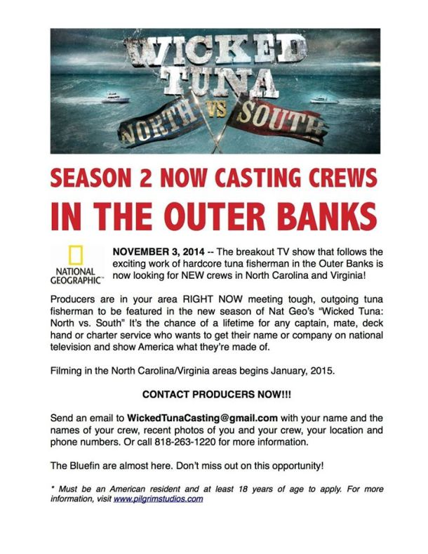 'Wicked Tuna: North vs. South' Season 2 is now casting Outer Banks crews.