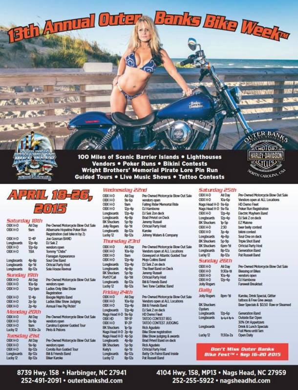 Outer Banks Bike Week 2015 Schedule of Events