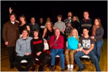 The Cast of Theatre of Dare's You Can't Take It With You: Back Row: Chuck Beatty, Betsy Head, Paul Dillon, Lynette Ford, Adonis Osekre, Nancy Harvey, Brendan Cobb, Stuart Parks II, Allison Johnson Guthrie, Tim Hass, Jessica Sands. Front Row: Tim Roy, Lisa Pfuhl, Don Bridge, Lauren Taylor, Jared Eng-Hong. Not Pictured: Bert Plante, David Rolf.