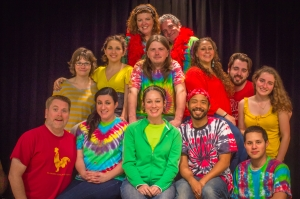 The cast of Theatre of Dare's 'Godspell': Top row: Larissa Roughton, Steven Devaney. Center row: Lara Parks, Katie Bender, Rob Jenkins, Missy Eppard, Daniel Ziegler, Bridgett Nesfield. Bottom row: Tim Hass, Kat Morgan, Kelsey Thompson, Jimmie Lee Brooks III, Jared Eng-Hong.