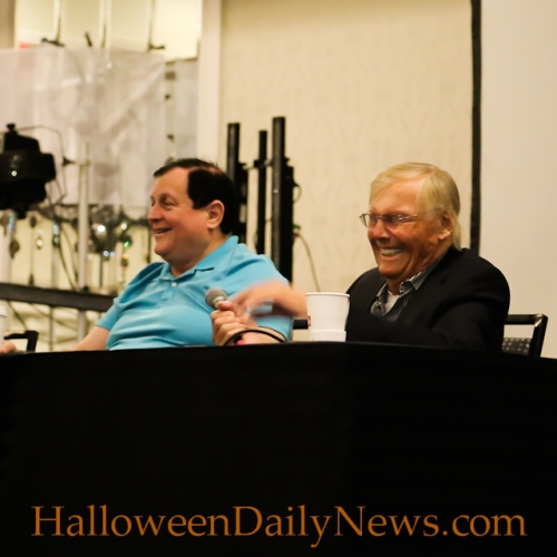 Adam West and Burt Ward announce the voice Batman and Robin in a new animated movie at Mad Monster Party on March 28, 2015 in Charlotte, North Carolina. (photo by Matt Artz for HalloweenDailyNews.com)