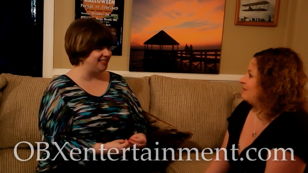 Sue Artz with Outer Banks Children At Play Executive Director Carole Dawn Emerson on the set of the OBX Entertainment series 'OBXE TV' on March 14, 2015. (photo by Matt Artz for OBXentertainment.com)