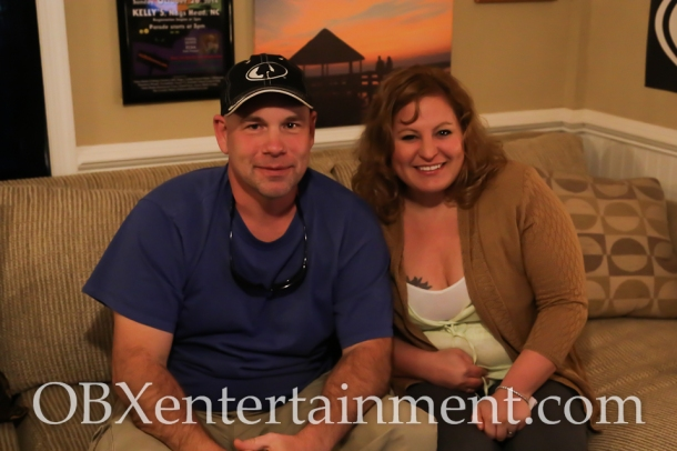 Sue Artz with Outer Banks Fishing Charters Captain Tim Story on the set of the OBX Entertainment series 'OBXE TV' on March 24, 2015. (photo by Matt Artz for OBXentertainment.com)